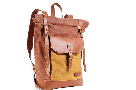 Shop Leather Roll Top Backpack on Wanelo
