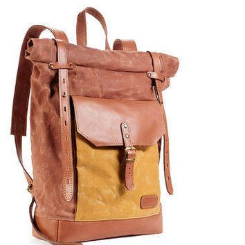 Waxed canvas backpack. Cappuccino canvas and brown leather backpack.  Roll top  backpack. Hipster backpack.
