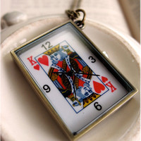 King of Hearts Pocket Watch Necklace by sodalex on Etsy