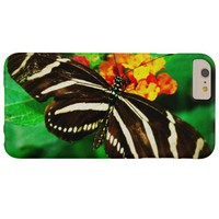 Chic, cute black and white striped butterfly photo barely there iPhone 6 plus case