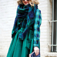 Green and Navy Plaid Scarf