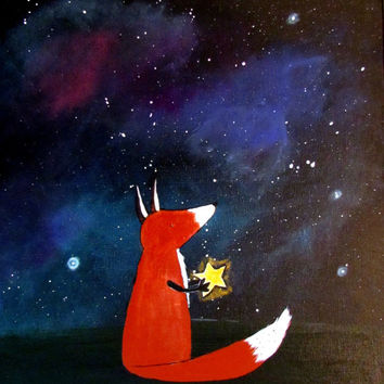 Fox and starry night sky original kids art acrylic painting nursery wall decor
