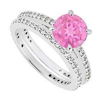 14K White Gold Pink Sapphire & Diamond Engagement Ring with Wedding Band Sets 1.25 CT TGW