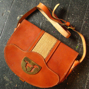 Brown Leather Western Horse Purse - Vintage 1970s Saddlebag Style Shoulder Bag, Great Condition, Brass Mustang Silhouette