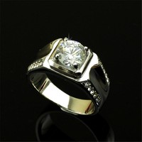 Men Wedding Engagement Rings In Solid Titanium Stainless Steel Set Zirconia Stone Simple Design Thick Ring Free Box Men Jewelry