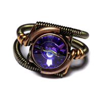 Steampunk Jewelry  RING  Heliotrope Purple by CatherinetteRings