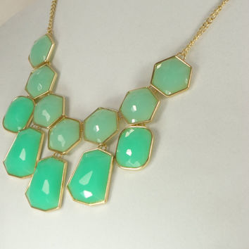 J Crew Inspired Statement Necklace, Bib Necklace, Bubble Bib, Bridesmaid Gift, Mint Nekclace, Mother's Day Gift