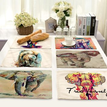 Animal Coloured Drawing Or Pattern Printing Home Furnishing Fabric Art Food Pad Foreign Trade Tableware Pad Come Picture