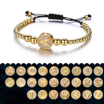 26 A-Z Initia Letters Bracelets For Women Round Crystal Stone Gold Color Beads Chain Bracelet Men Copper Bead Bracelets Pulseira