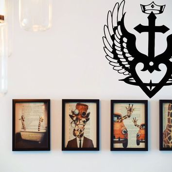 Crowned Bible Cross with Heart and Angle Wings  Vinyl Wall Decal - Removable (Indoor)