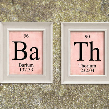BATH Periodic Table Elements Print Art Illustration Printable Instant Download Poster UPT002pink