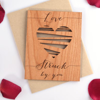 Valentines Day Card - Real Mini Wood Card - Valentine Heart - Lovestruck