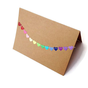 4 x 5.5 Kraft Thank You Cards with Envelope / Love Notes / Blank Note Cards / Bunting Flag Cards/ Assorted Rainbow Hearts / Set of 12