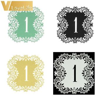 10pcs/set Hollow Lace Table Number Table Cards from 1 to 10 Rustic Wedding Centerpieces Decor Vintage Wedding Decoration