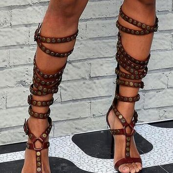 Red Brown Leather Buckles Knee High Boots Open Toe High Heel Gladiator Boots