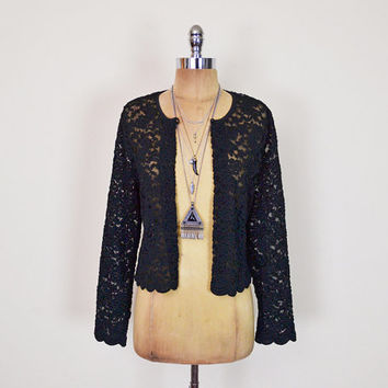 Vintage 90s Black Lace Jacket Sheer Lace Blouse Lace Top Crop Jacket Shrug Jacket Dress Jacket 90s Grunge Jacket Gypsy Jacket Women M Medium