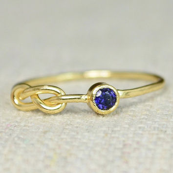 Sapphire Infinity Ring, Gold Filled Ring , Stackable Rings, Mother's Ring, September Birthstone Ring, Gold Infinity Ring, Gold Knot Ring,