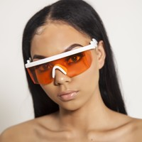 Orange Retro Wrap Sunglasses