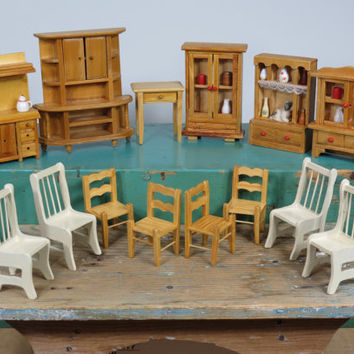 Large Lot of 1:12 Scale Dollhouse Furniture • Wooden Cabinets • Chair Sets • Table • Vintage • Some Need TLC • One Inch Scale