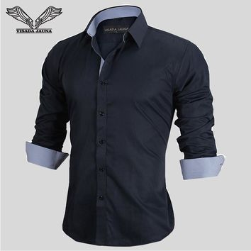 Men's Shirts Long-sleeved Business Casual Stitching Solid Arrival Dress High Quality N917