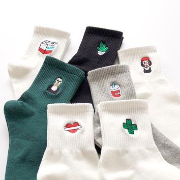 Harajuku Brief Cartoon Embroidery Patterns Socks For Women 35-40 Stretch Unisex Cotton Socks Calcetines Meias
