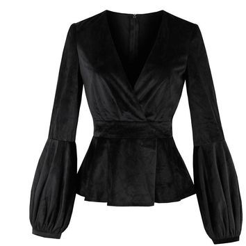 Jackets Black V-Neck Lantern Sleeve Women Slim Short Coats Office Gothics Fashion Outerwear