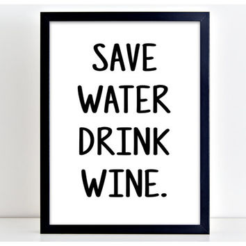 Drink Wine Print Funny Poster Wall Art Print Kitchen Quote Motivation Famous Wall Sign Letters Home Decor PP64