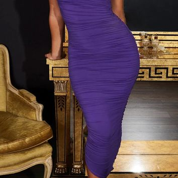 Dance With Somebody Sleeveless One Shoulder Ruched Bodycon Midi Dress - 2 Colors Available