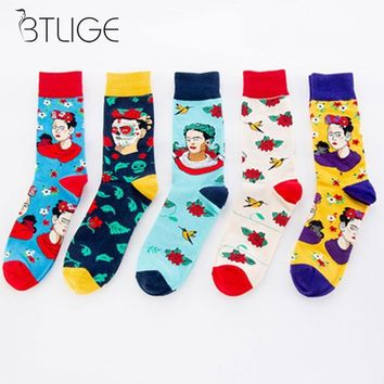 Novelty Casual Men Women Socks Floral Indian Woman Socks Combed Cotton Happy Men Socks For Christmas Gift High Quality