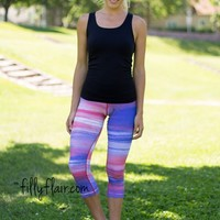 Activewear Athletic Sunset Capri Pants