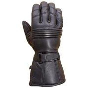 Gauntlet style Genuine leather motorcycle  gloves Black size 2xl