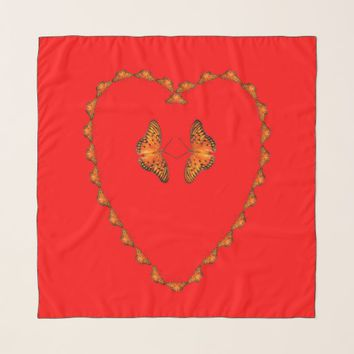 Passion butterflies in heart red scarf