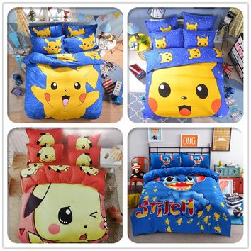 Cute Pikachu Bedding Set Cartoon Pokemon Hello Kitty Doraemon Stitch Duvet Cover Bed Sheet Pillowcase for Kid Gift Free Shipping