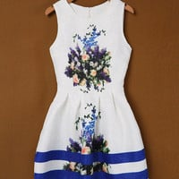 White Floral Print Striped Sleeveless Sheath A-Line Pleated Mini Dress