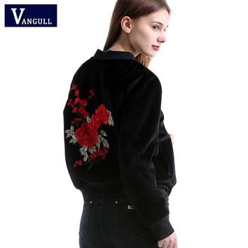 Trendy Vangull New embroidery basic jacket coat Spring 2018 street satin bomber jacket Women reversible baseball jackets sukajan AT_94_13
