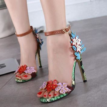 Flower Appliques Snake Texture Ankle Strap High Heel Sandals