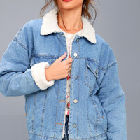Mountain Chalet Medium Wash Denim Shearling Jacket