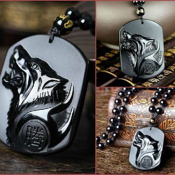 Black Obsidian Wolf Necklace Carving