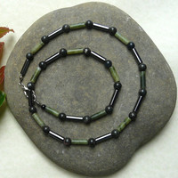 Mens Gemstone Necklace Jade and Hematite Free Worldwide Shipping