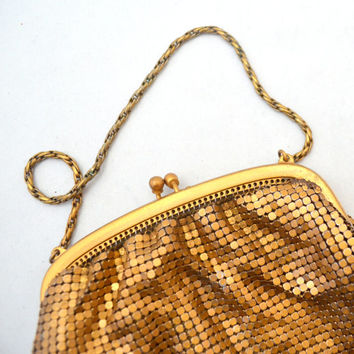 Vintage Whiting & Davis Metal Mesh Bag in Rare Copper Color, 1940s Metal Pouch, Purse