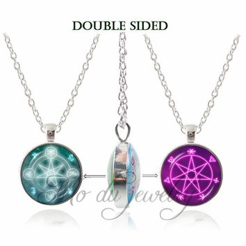 Pentagram Double Face Pendant Necklace Vintage Pentacle Wiccan Choker Glass Cabochon Occult Necklaces Pentagram Jewelry