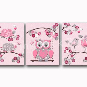 Nursery art floral nursery wall decoration pink toddler artwork playroom decor for kids room poster shower gift for baby girl owl turtles