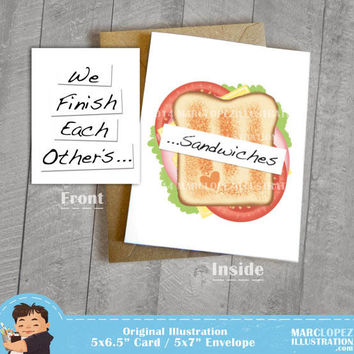 I love You Card, We Finish Each Other's Sandwiches, Movie Quote, 5 x 7 Kraft Envelope, For any Occasion, Birthday or Anniversary Note Card