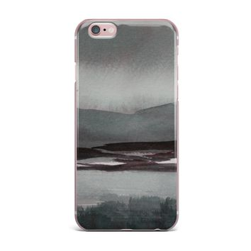 """Cyndi Steen """"Gray Landscape """" Gray Watercolor Painting iPhone Case"""