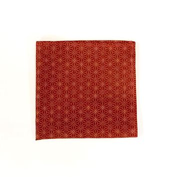 Red Geometric Floral Cotton Pocket Square