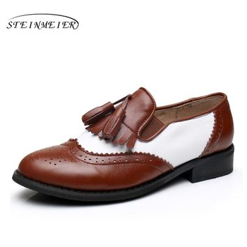Women genuine leather oxford flats tassel vintage Casual soft shoes round toe handmade brown white oxfords shoes for women fur
