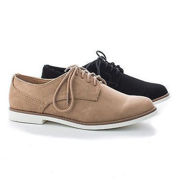 Tiller by Soda, Women Round Toe Classic Lace Up Flat Oxfords