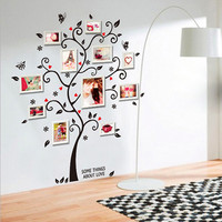 Family Photo Frame Tree Butterfly Flower Heart Mural Wall Sticker Home Decor Room Decals