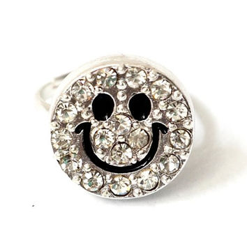 Crystal Smiley Ring Adjustable Happy Face Silver Tone RB25 Retro Bling Smile 90s Fashion Jewelry