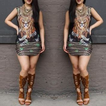 Streetstyle  Casual New Women Multicolor Loin Note Shackle Print Round Neck Boho Mini Dress